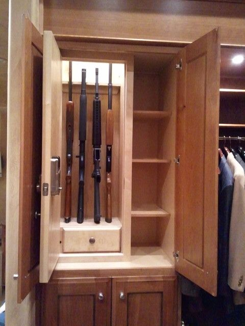 Amusing Gun Cabinet Ideas for Wonderful Look of House Interior: Striking Gun Cabinet Furniture With Wooden Material And Small Shaped Finishe...