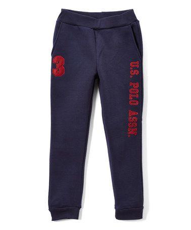Navy & Red 'U.S. Polo' Sweatpants - Boys #zulily #zulilyfinds