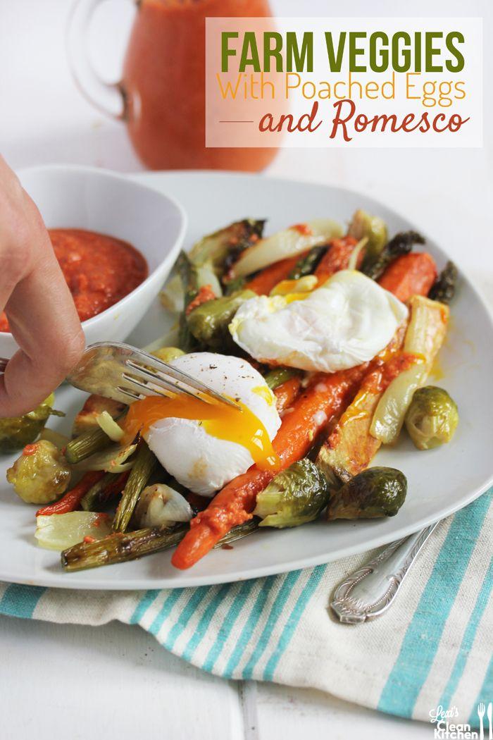 Farm Veggies with Romesco Sauce {and Poached Eggs}