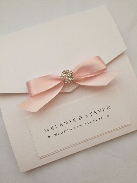Hamilton Collection SAMPLE Classic Crystal Pocketfold Invite Handmade Wedding Stationery With Satin Bow And Mini