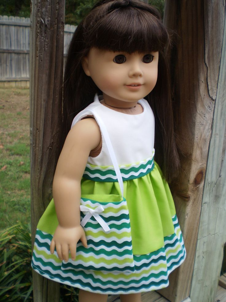 American Girl Doll Clothes, Green white doll dress purse, American Girl Green…
