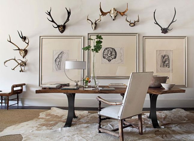Betsy Brown, chair, bench, table antlers, leaves, drawings, and of course the lamp