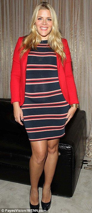 Busy Philipps is much improved in cute striped dress and red blazer | baby bump chic