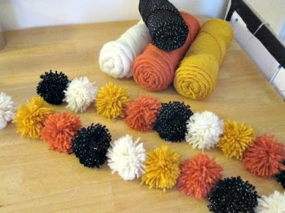 DIY Yarn Pom Pom Garland