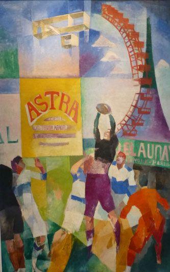 Musée d'Art moderne de la Ville de Paris: Guide des plus belles œuvres des collections permanentes (accès gratuit) -  L'Equipe de Cardiff (1912-1913). Robert Delaunay.