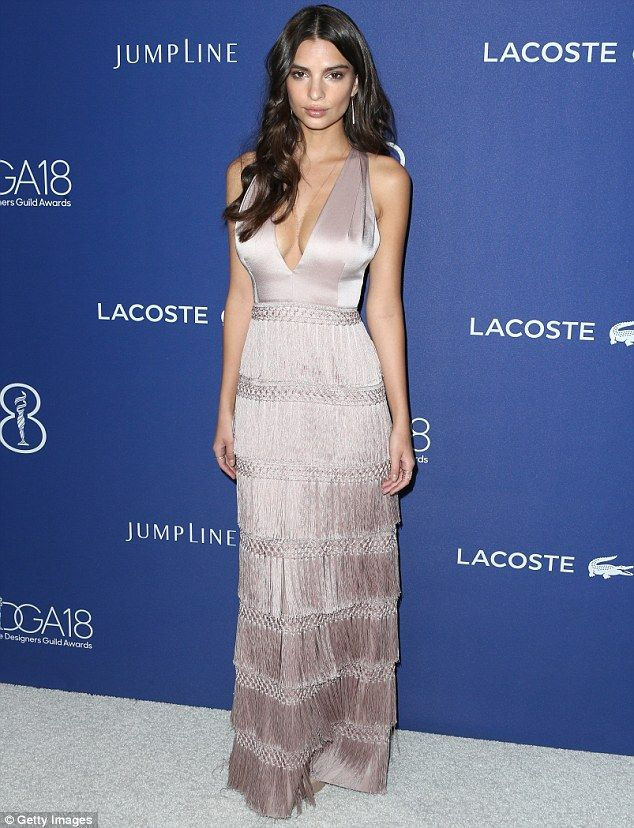 A sight for sore eyes: Emily Ratajkowski looked stunning at the Costume Designers Guild Awards in Beverly Hills on Tuesday