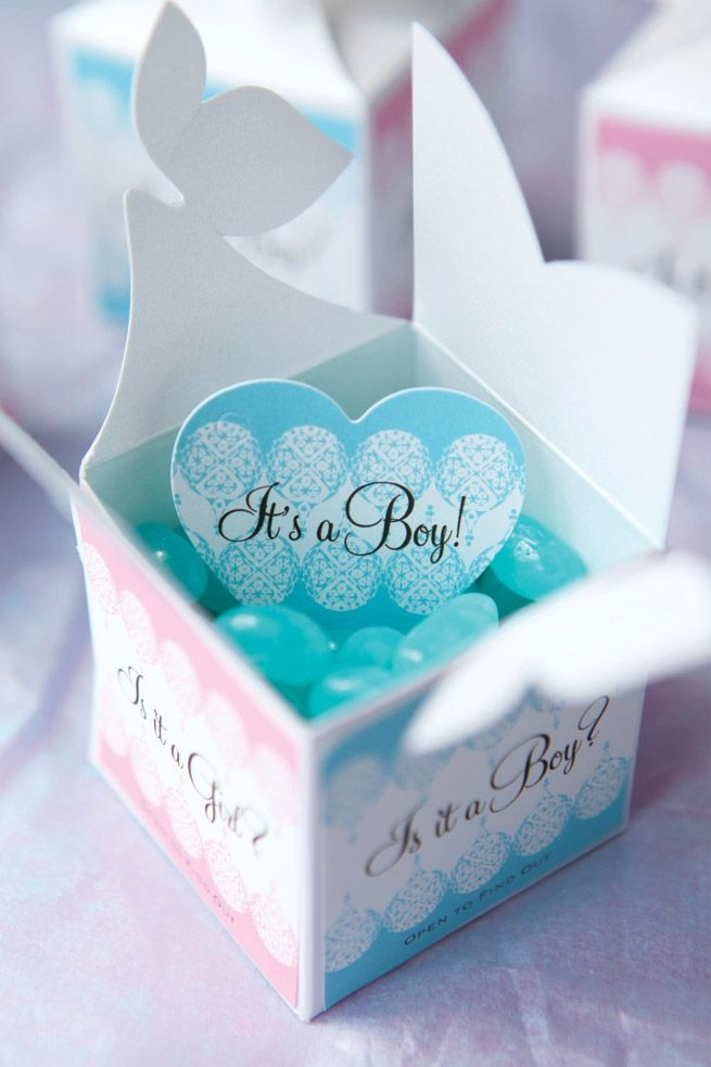 Baby Gender Reveal idea - favor boxes with labels! Blue Jelly beans inside!