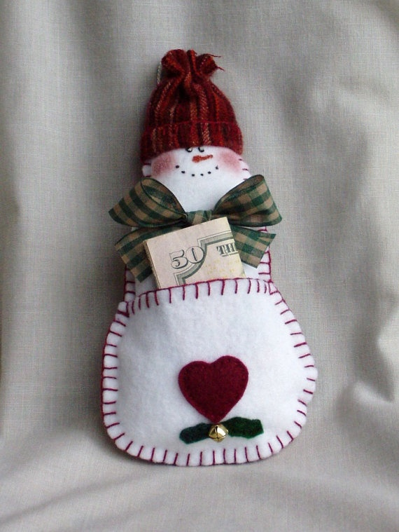 cute felt snowman money holder....♥ inspiration only ~ this item was for sale, and has been sold already!