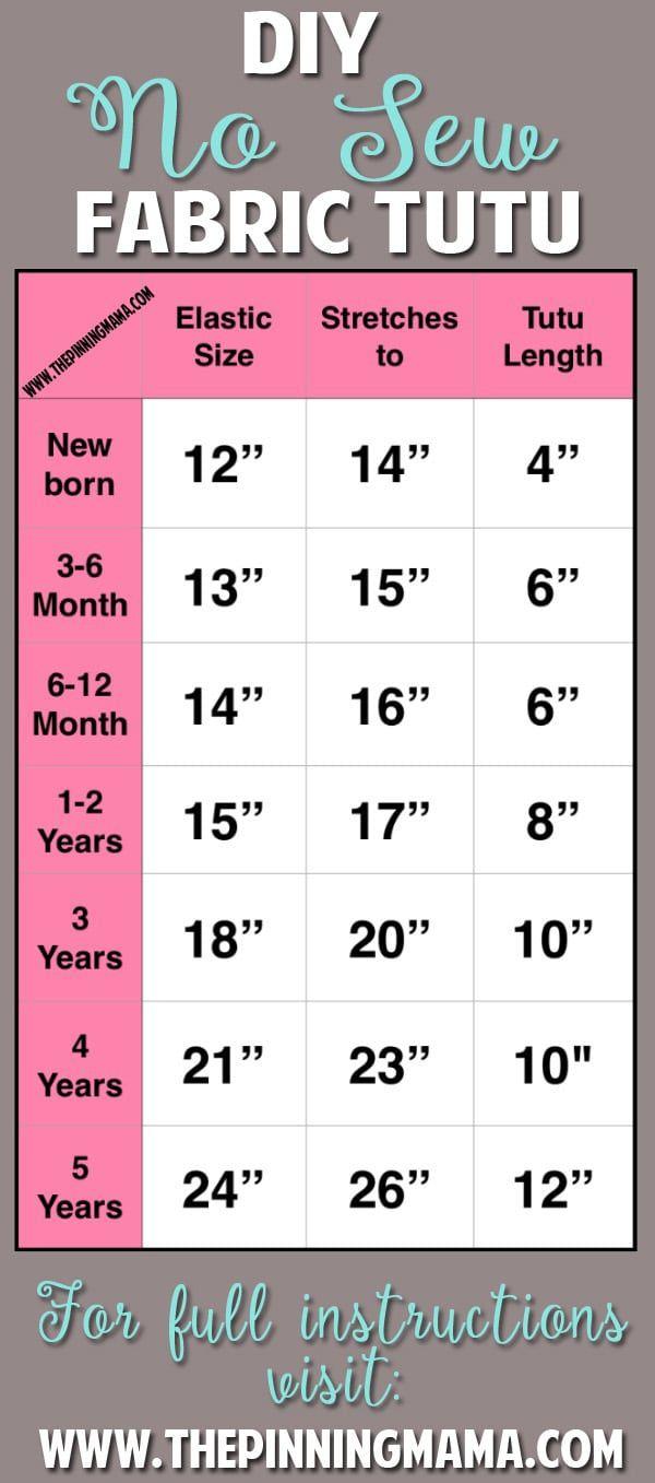 No Sew Tutu Size Chart