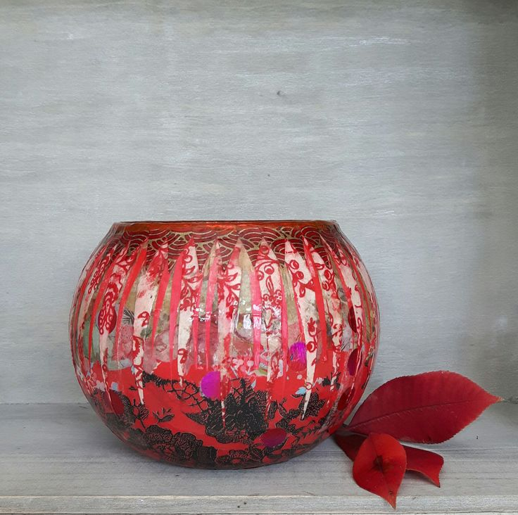 Decorative vases, bubble vases, unique vases, quirky vases, red vases, striking vase, hand decorated vases, decoupage vases, decorated vases by StyxOnGlass on Etsy