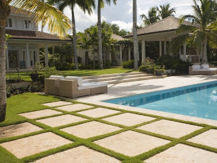 love the look of grass between pavers   Everything in the