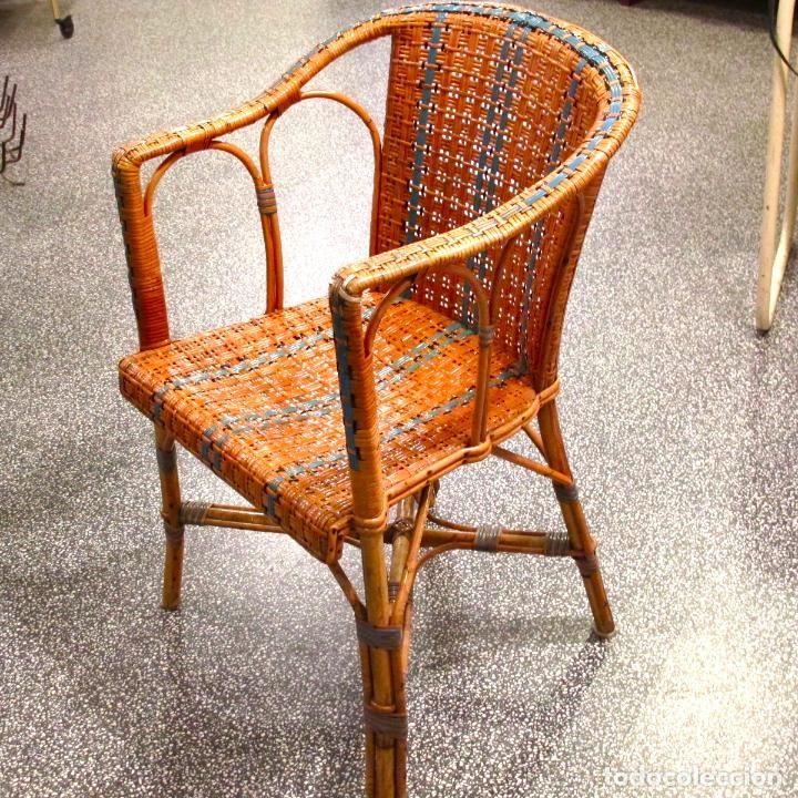 vintage silla sillon butaca bamb mimbre ratan shabby chic antiguo vintage bistro aos