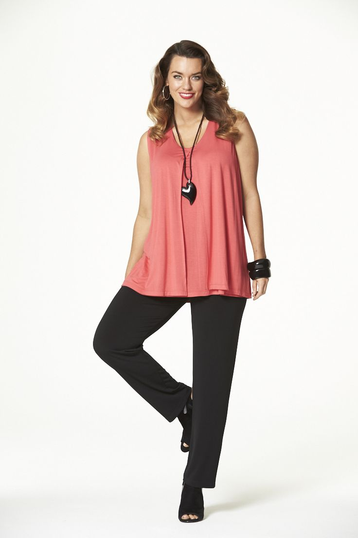 Spring Fling Layered Singlet in Coral  #mysize #plussize #fashion #plussizefashion #spring #newarrivals #outfit