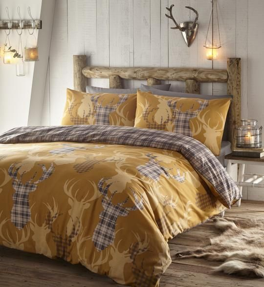 Ochre Tartan Stag Duvet Sets Bedding And Curtain Sets Quilted Duvet