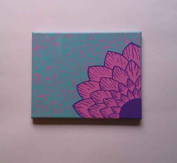 Pink Flower Fashionable Acrylic Canvas Painting For Trendy