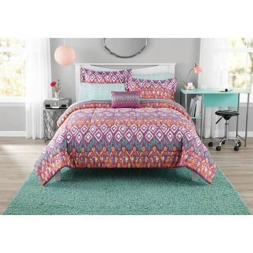 Color Kaleidoscopic Tribal Comforter Set Twin Twin Xl Sheets Purple Dark Teal Globular Ikat Sketchy Diamond Pattern Geomatric Motif Adult Bedding Master Bedroom Elegant Polyester