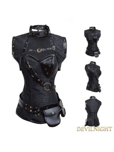 Black Overbust Steampunk Corset with Jacket