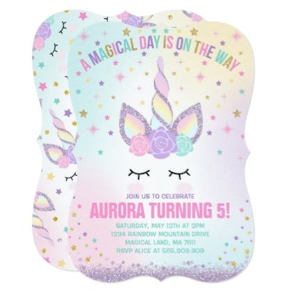 Unicorn Birthday Invitation Magical Unicorn Party - invitations custom unique diy personalize occasions