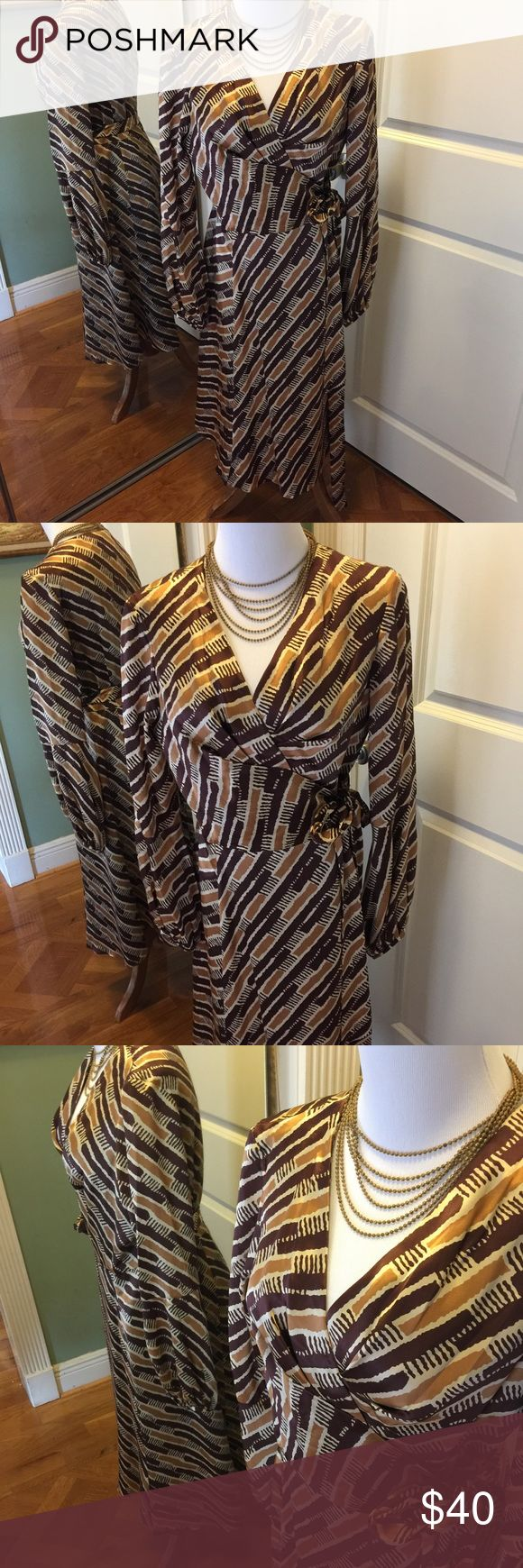 Donna Ricco silk wrap dress 6 100% silk dress wrap style by Donna Ricco in tones of brown on cream  perfect for fall  long sleeve Donna Ricco Dresses Midi