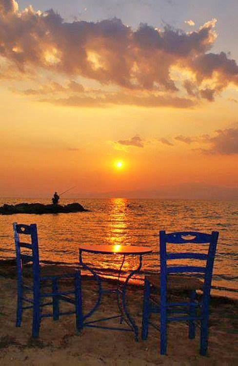 Enjoying an amazing Thassos sunset