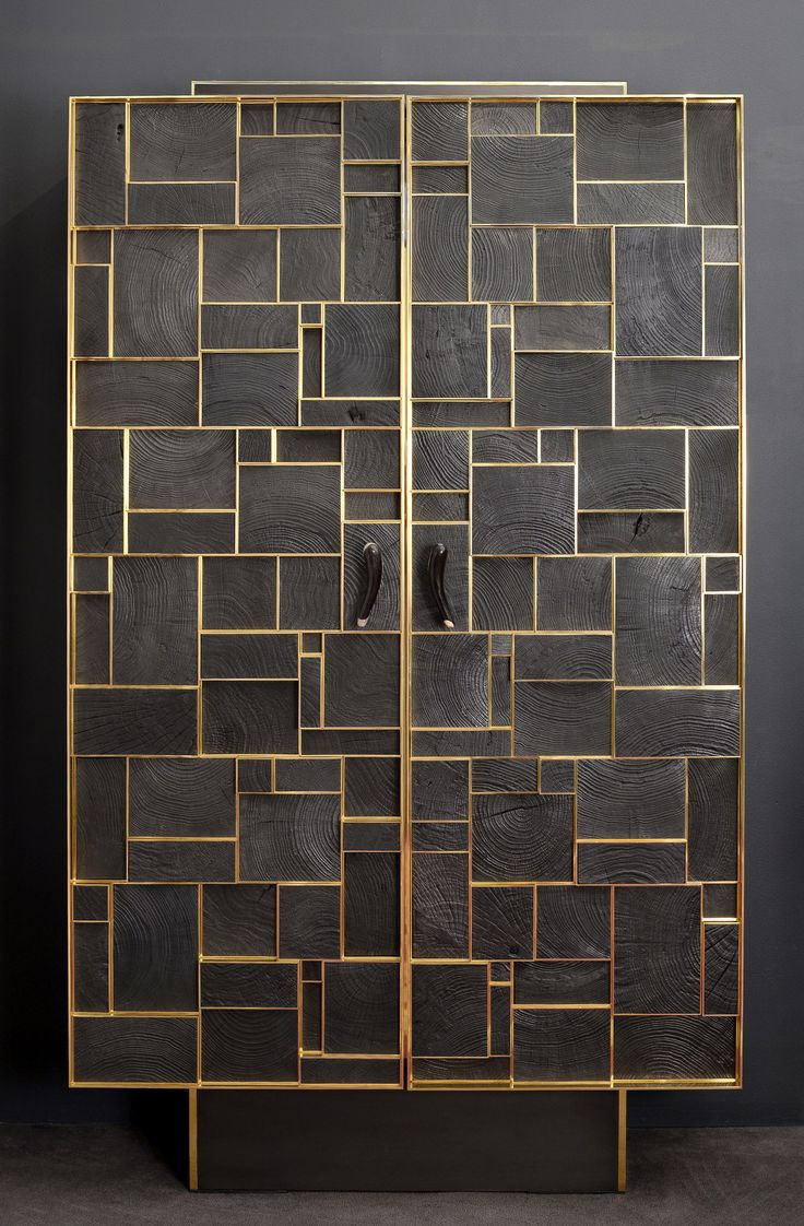 PHOENIX CABINET Bronze, charred wood and silicified wood