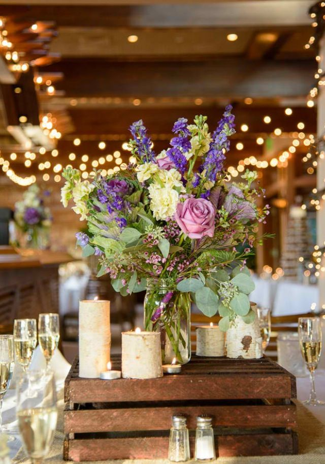 Rustic wedding centerpiece mason jar, birch tree candle holders and wooden crate boxes