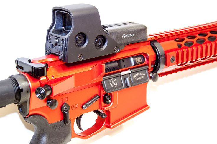Fire Engine Red EAC Custom Build from Edward Arms Company in Phoenix Arizona. EOTech from L3 communications and Custom Anodize AR15 style rifle