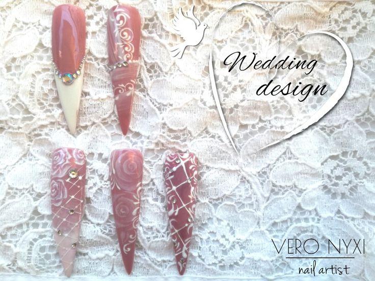#Wedding design#Handpainted#Nail art