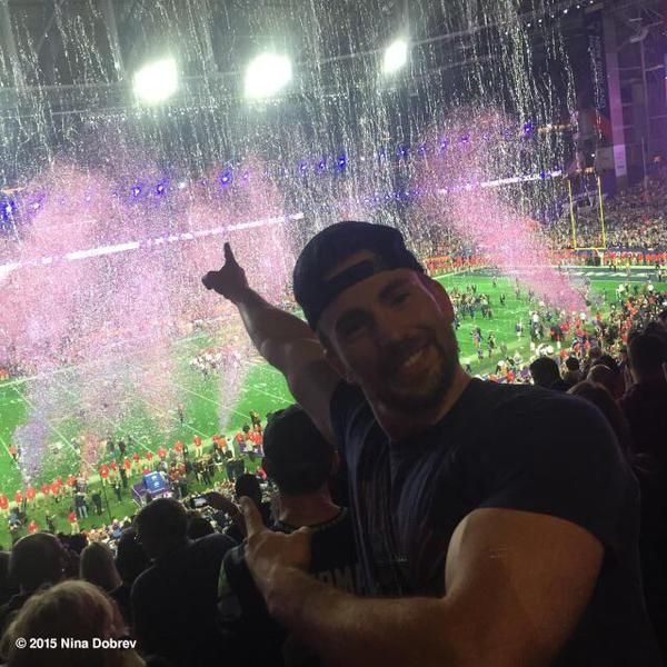 Chris Evans happy after the Patriots win the Super Bowl - Glendale, Arizona 2.1.15