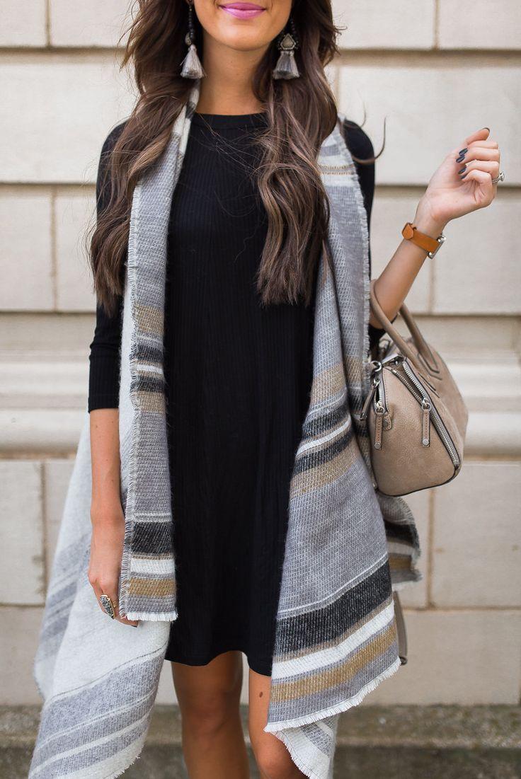 striped scarf/vest + swing dress + suede bag