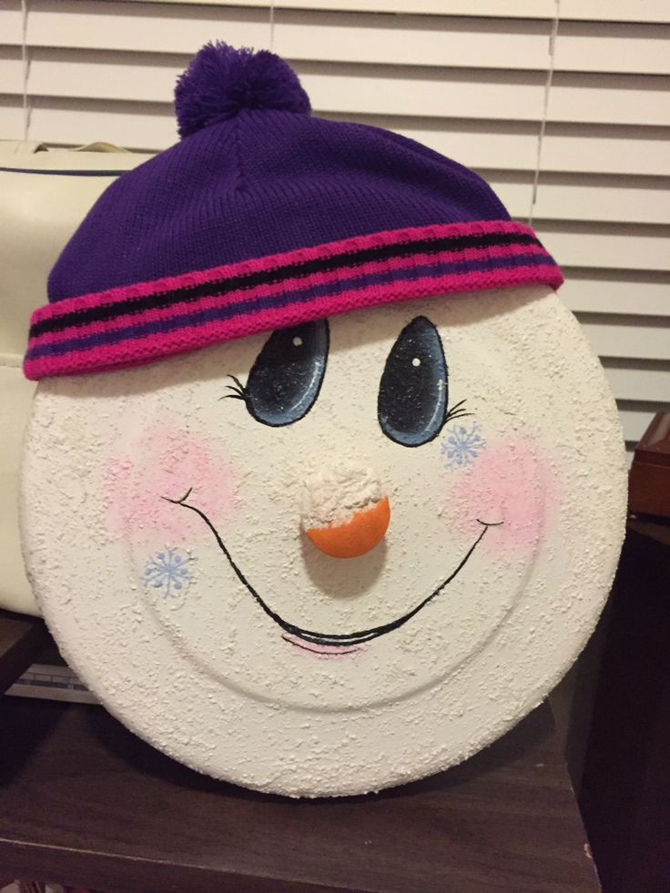 Snowman Pot Lid Re Purposed Crafts And Painting My