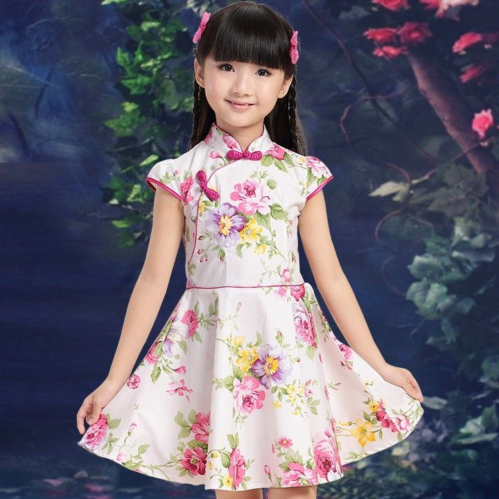 Girl's Pink Cotton Flowers Print Reformed Chinese Princess Dress Qipao - iDreamMart.com