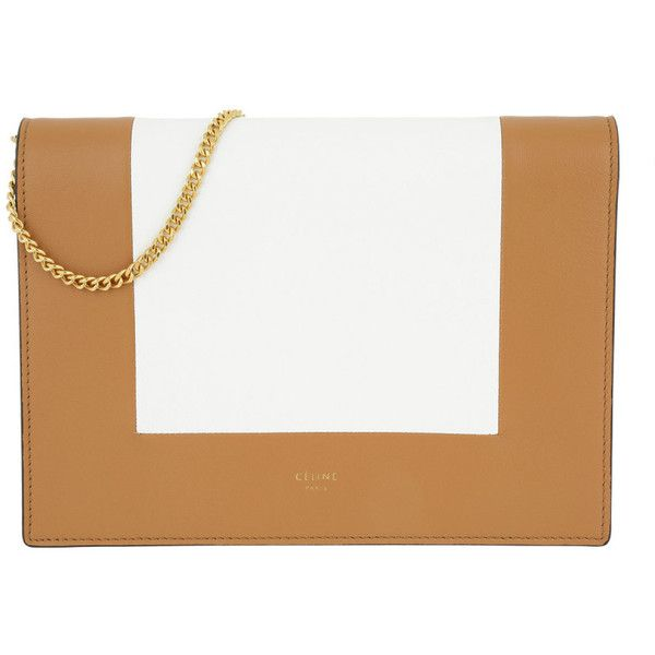Céline Shoulder Bag - Frame Evening Clutch on Chain Tan/Optic White -... (£855) ❤ liked on Polyvore featuring bags, handbags, shoulder bags, celine purse, chain purse, tan shoulder bag, flap shoulder bag and tan purse