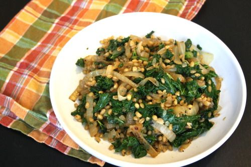 Wheat Berries with Charred Onion and Kale
