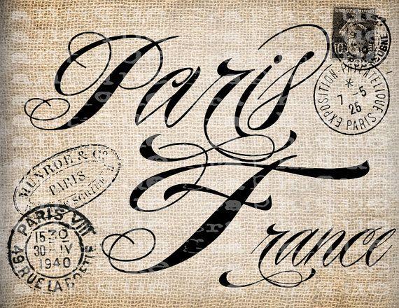 Antique Paris France Fancy Word from Old Postcard Digital Download for Tea Towels, Transfer, Pillows, etc Burlap No 3999