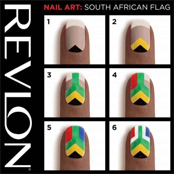 Perfect South Africa Flag Nail Art Design Idea With Helpful Step By Step Tutorial By Revlon - African Nail Art