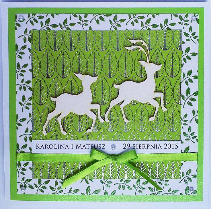 Kartka ślubna dla leśniczego #kartka #birthdaycard #papercard #papercrafts #craft #handmadecard #handmade #kartkanaslub #scrapbooking #scrapbookingcards #rekodzielo #kartkaweselna #wesele #weddingcard #leśniczy