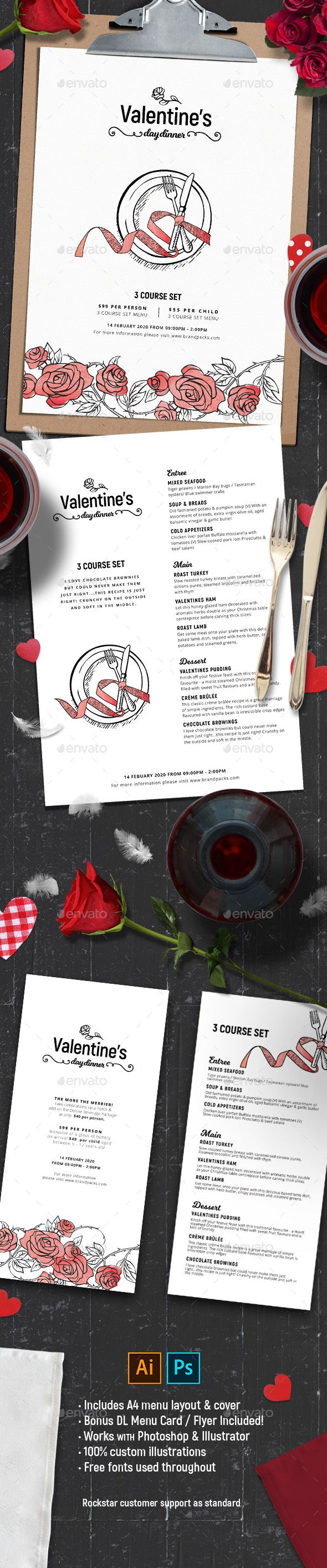 Valentines Menu Templates for Photoshop & IllustratorCreate beautiful Valentine¡¯s Day menu designs & layouts with our readymade Valentines Menu Templates for Photoshop & Illustrator. Included in this pack you¡¯ll find:a Valentines themed A4 menu cover design a complete A4 Valentines Menu Template for Valentine¡¯s Day lunches, dinners & set menus a