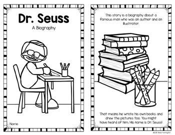 Dr. Seuss Biography for Kindergarten and FIrst Grade Students. 8 pages; both blackline and color versions included. Simple text and perfect for Read Across America Day. $