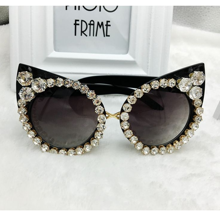 Cat Eye Rhinestone Black Sunglasses