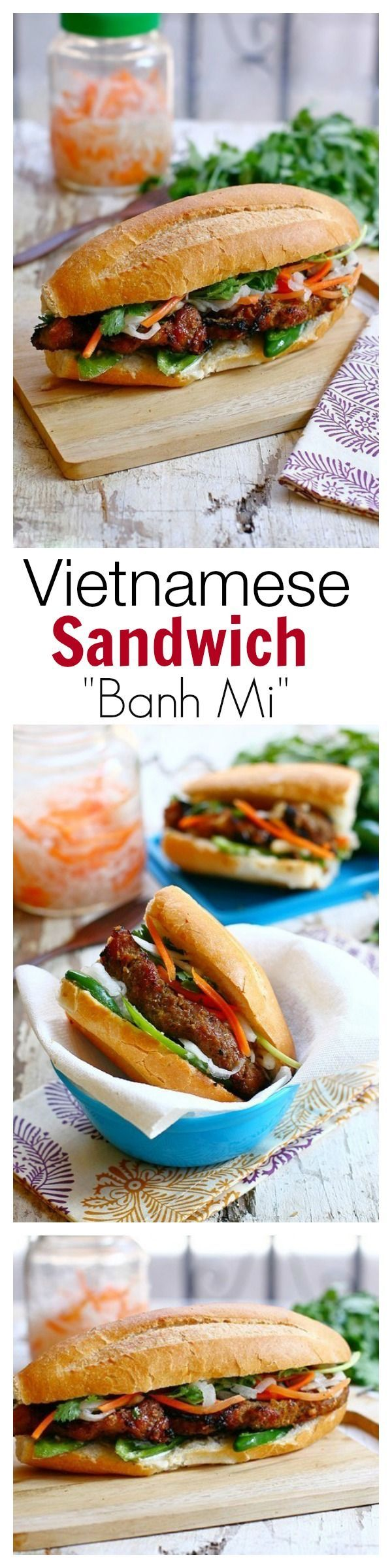 Banh Mi is Vietnamese baguette with grilled meat. Easy banh mi recipe with grilled lemongrass pork and baguette to make the perfect banh mi at home.   rasamalaysia.com