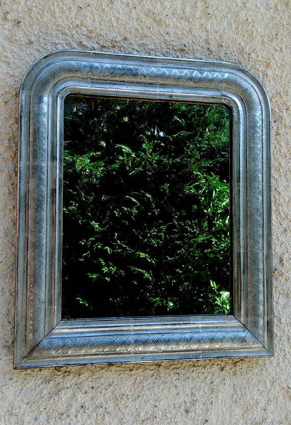 Miroir argenté de style Pouis Philippe, petit miroir doré à la feuille d'argent