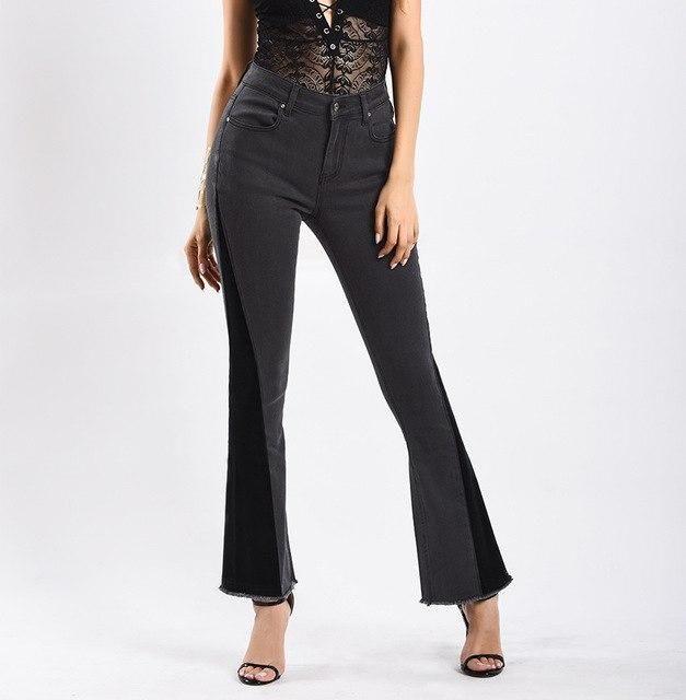 2019 Women Jeans Panelled Vintage Flare Pants Elastic Women Jeans Femme Plus Size 3Xl Ladies Jeans Women Black Denim Pants Black 3
