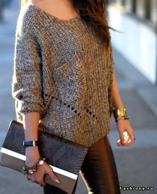 Образы с вязаными свитерами / молодежные свитера спицами со схемами