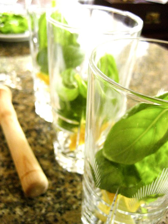 The Med  50ml mastic spirit (or liqueur) 5ml simple syrup or 1 tsp sugar (reduce to half if using mastic liqueur) 2 lemon wedges 6 small basil leaves soda water crushed ice DIRECTIONS  In a tall glass muddle lemon, basil leaves and syrup. Add the mastic and crushed ice. Stir well. Top with soda water, stir,  and garnish with basil leaves.
