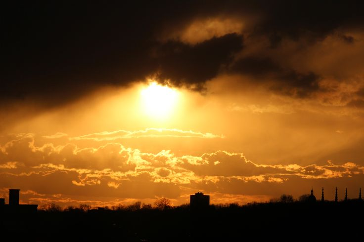 One of our amazing sun sets in Montreal, Quebec, Canada taken from my office window. Amazing.