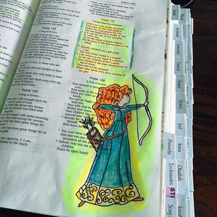 """Merida made her way into my bible journaling. #psalm127 """"Behold children are a…"""
