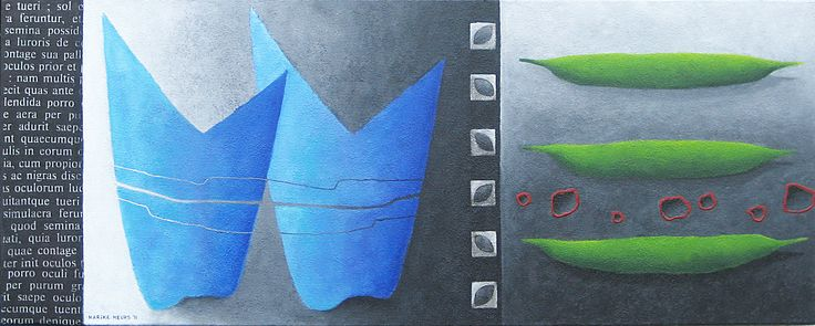 Flowering in blue, grey andd green -acryl on canvas - 40x100 cnm - Marike Meurs