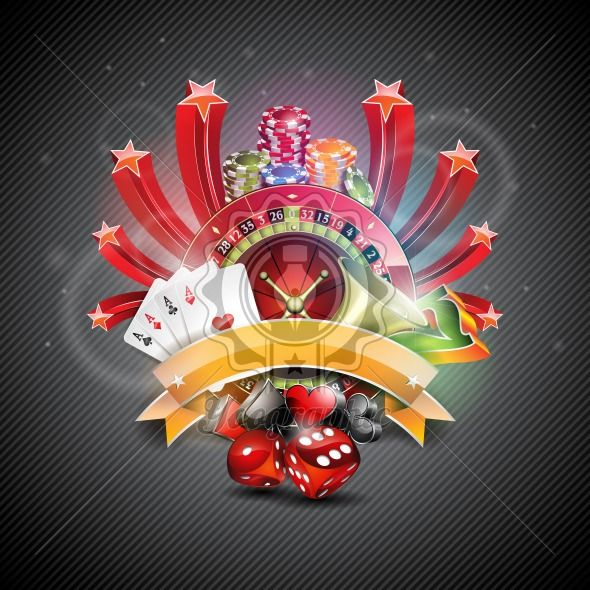Vector illustration on a casino theme with croulette wheel and poker cards on dark background. - Royalty Free Vector Illustration