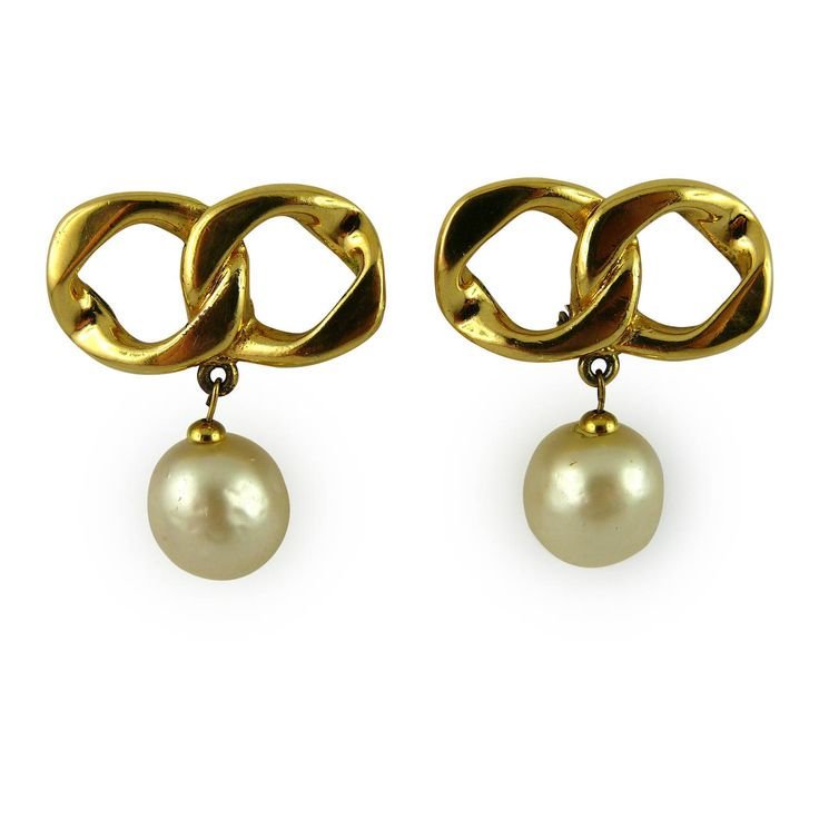 Chanel Vintage Iconic Chain & Pearl Dangling Earrings | From a unique collection of vintage dangle earrings at https://www.1stdibs.com/jewelry/earrings/dangle-earrings/